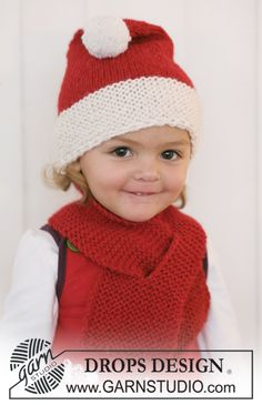 """Wrapped up for the Christmas visits! Free pattern: Knitted DROPS Christmas hat and scarf in 2 threads """"Alpaca"""". ~ DROPS Design"""