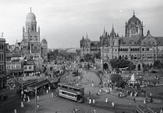 CST and BMC junction in old Mumbai,  can see the trams on streets