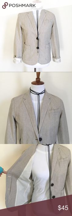 J.Crew Black and White Striped Blazer Jacket Lovely and versatile linen blazer. Lightly worn and in wonderful condition. J. Crew Jackets & Coats Blazers