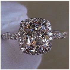 Solid 14K White Gold 3 cttw 2 ct Center Cushion Cut NSCD SONA Diamond Engagement Wedding Ring Sizes 4.5-10 - Made To Order - Thumbnail 2