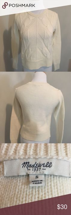 Madewell merino cable knit sweater size S Madewell merino wool cable knit sweater size S gently worn Madewell Sweaters Crew & Scoop Necks