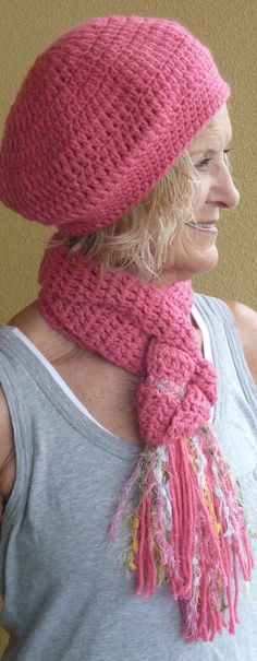 Bohemian Clothing Pink Hat and Scarf Original by hatsbyanne1942
