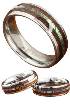 Did this wood wedding band just take your breath away? It did for me. This is a 6mm tungsten wood wedding band with a real abalone center stripe going through the center of this ring. This is one beautiful wedding band. Last time I checked this ring was sold out because of high demand but now its back in! Finally!