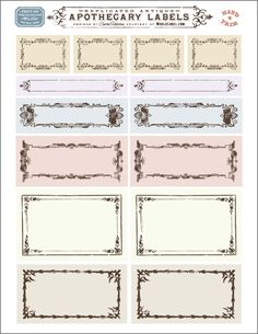 Vintage labels printables - Free replicated antique ornate blank Apothecary labels for artisans, crafters and designers are designed by Cathe Holden of Justsomethingimade com Labels are in editable PDF templates ready to print in your laser and inkjet pri Potion Labels, Jar Labels, Bottle Labels, Free Label Templates, Address Label Template, Labels Free, Vintage Tags, Vintage Labels, Vintage Ephemera