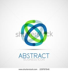 Line design logo, geometric abstract business identity icon, connected lines, symmetric loop logotype
