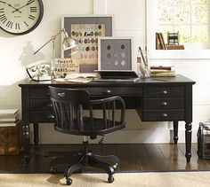 Printer's Keyhole Desk #potterybarn     64x32dx30h file drawer on right, small drawers on left