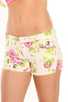 Neon Flowers Cut Off Shorts - I'm Haute