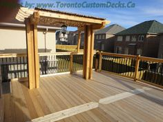 A charming pergola at the deck. #Deck design #custom deck #interlocking #patio #Toronto
