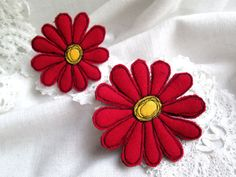 Felt Brooch Red Gerbera 2in1 . Set of two brooches will bring good luck and emphasize the originality of the its owners image. Felt brooches. Free hand machine embroidery. Safety pin on the back side of the every brooch. The brooch looks great on sweater, jacket, scarf, hat or purse. Be creative! Make your outfit unique and irresistible! Jewelry with a soul. Inspired by nature. Made with love. Measures: 9 x 8 cm / 3,5 x 3,1 inch 6 x 6 cm / 2,3 x 2,3 inch Real colors may slightly ...