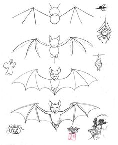 How to Draw a Bat by *Diana-Huang on deviantART dibujos faciles Draw a Bat by Diana-Huang on DeviantArt Bird Drawings, Cartoon Drawings, Easy Drawings, Animal Drawings, Pencil Drawings, Drawing Lessons, Drawing Techniques, Art Lessons, Animal Sketches