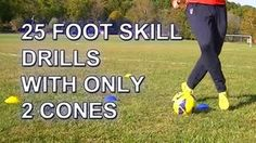 Your Speed During Soccer Training 25 Fast Footwork Soccer/Football foot skill drills with 2 cones Soccer Drills For Kids, Soccer Training Drills, Soccer Workouts, Football Drills, Soccer Practice, Soccer Skills, Soccer Coaching, Youth Soccer, Soccer Tips