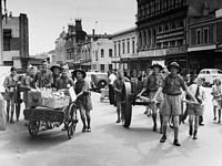 PH 13047. The Armadale scouts collecting for the Food for Britain appeal, 1947.