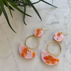 Mini Eclipse Earrings- Pink & Orange Spot – CURA Jewellery Plating, Pearl Earrings, Gems, Perfume, Jewels, Jewellery, Orange, Mini, Pearl Studs