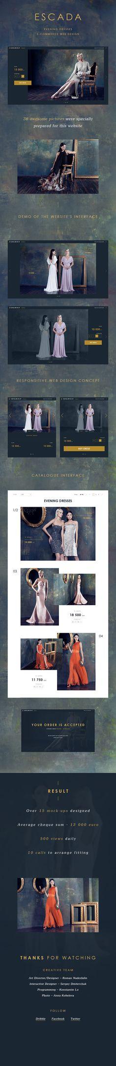 Escada evening dresses - eCommerce website on Behance