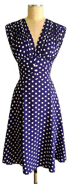 The Trashy Diva 1940's Dress in Big Polka is back by popular demand!