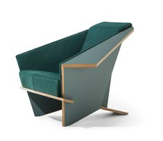 The re-edition of the Taliesin 1 armchair by Frank Lloyd Wright, first desinged for Wright's own home in 1949, this chair is one of 150 limited edition pieces in petrol green.