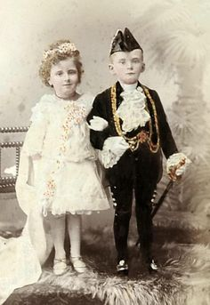 Victorian children in fancy dress costumes for the Mayor and Mayoress of Leeds' silver wedding ball in 1891