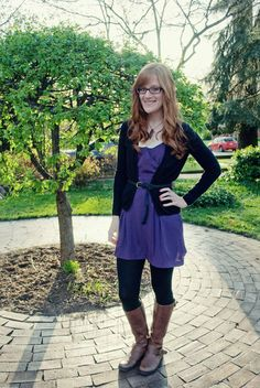 riding boots, belted purple dress