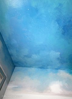 Clouds on the ceiling.. Want to do this in Levi's room