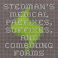 Stedman's Medical Prefixes, Suffixes, and Combining Forms