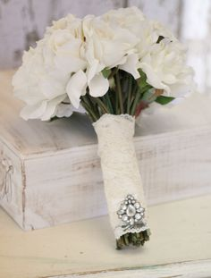 Silk Bride Bouquet Cream and White Shabby Chic Vintage Inspired Rustic ...