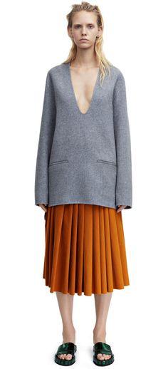 Alley doublé grey melange kaftan style pullover with a deep v-neck #AcneStudios #Resort2015