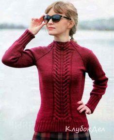 Пуловер спицами «Колос»