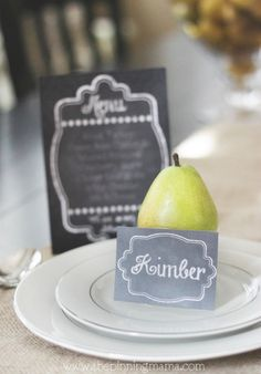 Free Printable Chalkboard Menu and Table Tent Card
