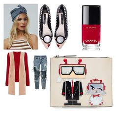 """""""Red sweater walk in the street"""" by joanna-brzegowy on Polyvore featuring moda, MaxMara, One Teaspoon, Alice + Olivia, Lipsy, Free People, Chanel i Karl Lagerfeld"""