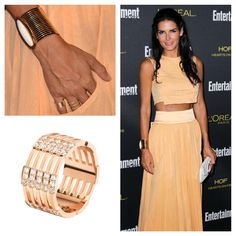 #AngieHarmon wearing the #MelissaKayeJewelry Izzy #ring in #18k pink #gold with #diamonds #jewelry #finejewelry #pinkgold #celeb #style #celebstyle #fashion #redcarpet