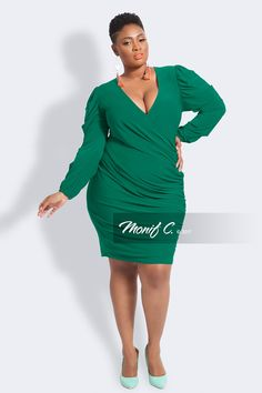 d672322763b31 Shop Blanca Gathered sleeve faux wrap green dress for a great fit at Monif  C Plus Size Clothing Store.