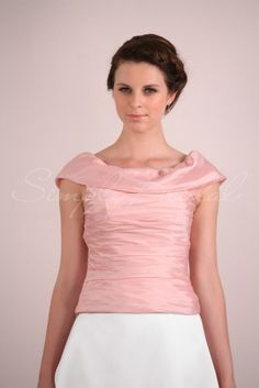 #84008 - Cap-Sleeve Taffeta Top With Ruching