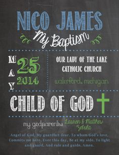Baptism Poster Chalkboard Style DIGITAL by ZBoards on Etsy