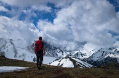 Hiker, Coudy Peak, Olympic National Park by Andrew Shoemaker