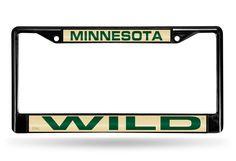 NHL Minnesota Wild Black Laser Cut Chrome License Plate Frame