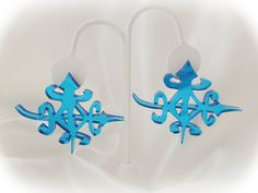 "choledebrejewelry--""UNITY"" Laser Cut earrings in Mirror Blue"