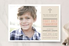 Sainte First Holy Communion Invitations by Bethany Anderson at minted.com