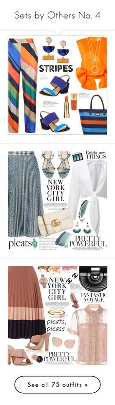 """""""Sets by Others No. 4"""" by pat912 ❤ liked on Polyvore featuring ESCADA, Maison Rabih Kayrouz, Kate Spade, Kakao By K, Sun N' Sand, Salvatore Ferragamo, Sisley, Yves Saint Laurent, stripedpants and polyvoreeditorial"""