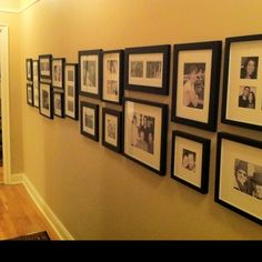 Decorating a long corridor wall. Created a Horizontal Gallery of Friends. B&W photos in matted frames.