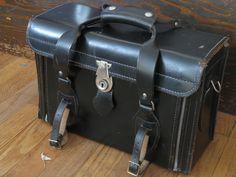 Vintage Top Grain Black Leather Camera Case / Bag - would make an awesome bike basket, purse or art supply case  $35.00, via Etsy.