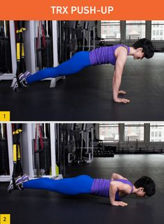 TRX Push-Up. I lovee using the TRX. I get so sore from it! Suspension Workout, Suspension Training, Trx Suspension, Fitness Tips, Fitness Motivation, Health Fitness, Trx Fitness, Woman Fitness, Fitness Journal