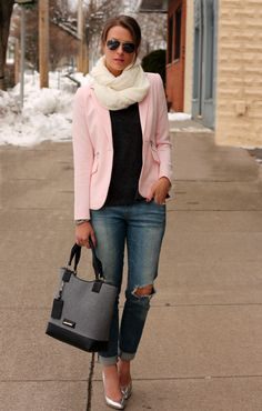 by Penny Pincher Fashion. Silver pumps, ripped jeans, and pink blazer Casual Chic, Moda Casual, Cute Fall Outfits, Winter Outfits, Casual Outfits, Spring Outfits, Blazers Rosa, Rosa Blazer, Cute Fashion