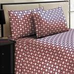 Jill Morgan Fashion Printed Square Burgundy Microfiber Queen Sheet Set (4-Piece), Reds/Pinks