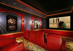 Colorful theater with cine carpeting & starry ceiling. At Home Movie Theater, Home Theater Setup, Home Theater Seating, Home Theater Design, Cinema Theatre, Theater Room Decor, Home Theater Rooms, Tv Decor, Entertainment Center Kitchen