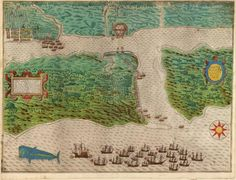 Baptista Boazio, Drake's attack on St. Augustine, Florida, May 28–30, 1586. (Rare Books and Special Collections Division, Library of Congress)