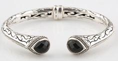 Scott Kay Jewelry 925 Etch Sterling Silver and Diamond-Framed Onyx Cuff Bracelet #ScottKay #Cuff