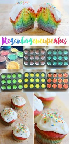 A great recipe for rainbow cupcakes with frosting - A delicious recipe for baking rainbow cupcakes or muffins for your rainbow party! A delicious recip - Rainbow Cupcakes, Rainbow Food, Mini Cupcakes, Oreo Cupcakes, Rainbow Muffins, Rainbow Bread, Rainbow Sweets, Baking Cupcakes, Cupcake Cakes