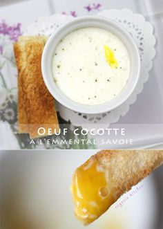 Oeuf Cocotte a l'Emmental de Savoie - Cheese Egg in Ramekin Recipe _ This simple yet delicious breakfast or/& brunch item is perfect for any day. It is French & I am using Emmental cheese from Savoy region of France to add rich flavor in video! Kitchen Recipes, Gourmet Recipes, Vegetarian Recipes, Lorraine, Cocotte Recipe, Emmental Cheese, Brunch Items, Recipe Filing, Meals For Two