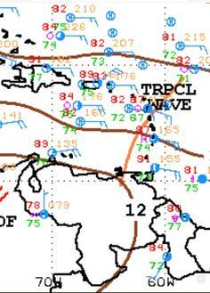 Eje inferior de la Onda Tropical No.18 sobre el Nororiente venezolano según el mapa de superficie vigente.