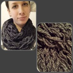 Items similar to Infinity Scarf - double wrap circle scarf chunky textured loose knit charcoal with sparkle. on Etsy Circle Scarf, Knits, Infinity, Charcoal, Knitting, Etsy, Fashion, Moda, Infinite
